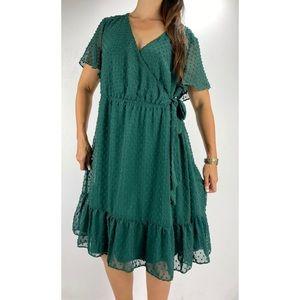 YOU + ALL Green Polka Dot Dress Plus Size AU 18
